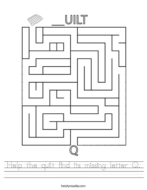 Help the quilt find its missing letter Q. Worksheet