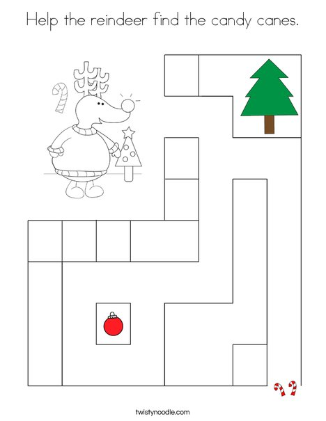 Help the reindeer find the candy canes. Coloring Page