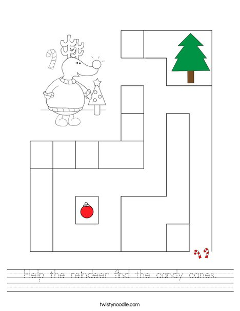 Help the reindeer find the candy canes. Worksheet
