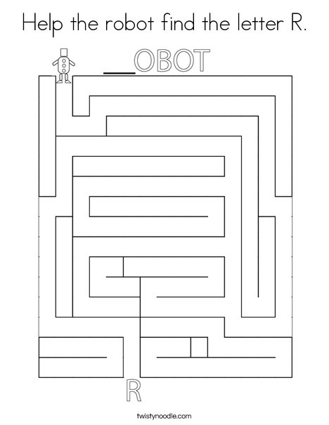 Help the robot find the letter R. Coloring Page