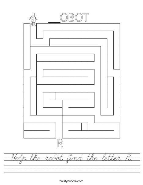 Help the robot find the letter R. Worksheet