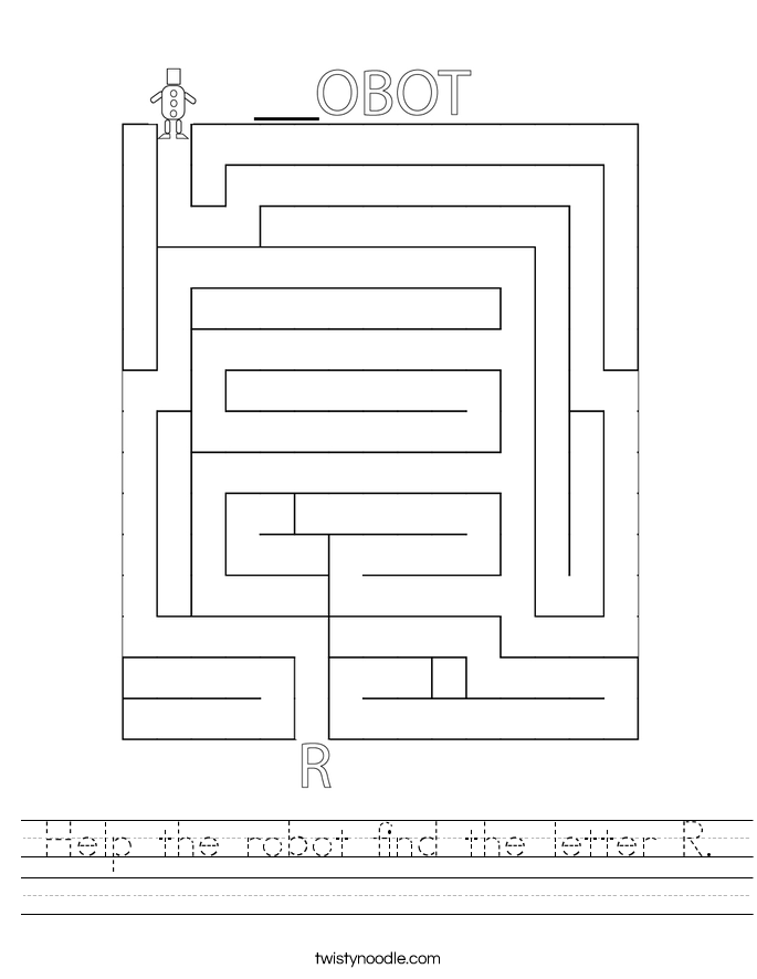 Help the robot find the letter R. Worksheet
