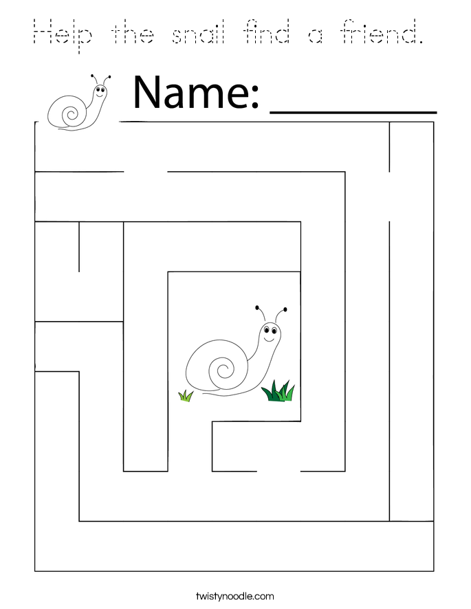 Help the snail find a friend.  Coloring Page