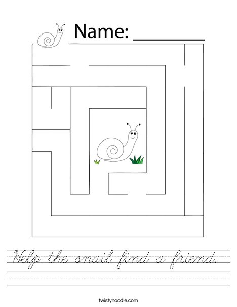 Help the snail find a friend. Worksheet