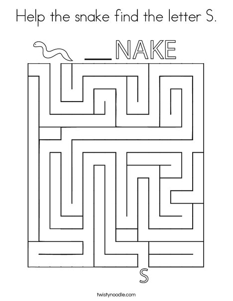 Help the snake find the letter S. Coloring Page
