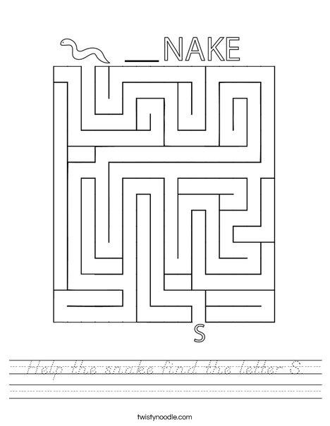 Help the snake find the letter S. Worksheet