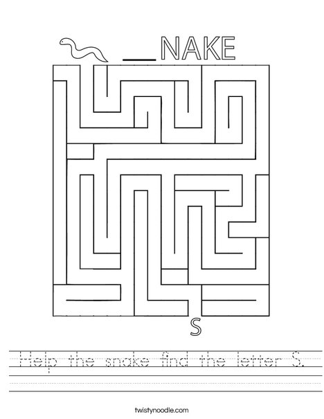 Help the snake find the letter S. Worksheet