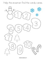 Help the snowman find the candy canes Coloring Page