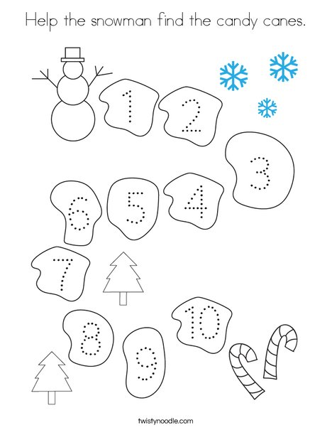 Help the snowman find the candy canes. Coloring Page