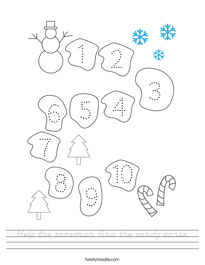 Help the snowman find the candy canes. Worksheet
