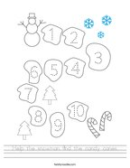 Help the snowman find the candy canes Handwriting Sheet