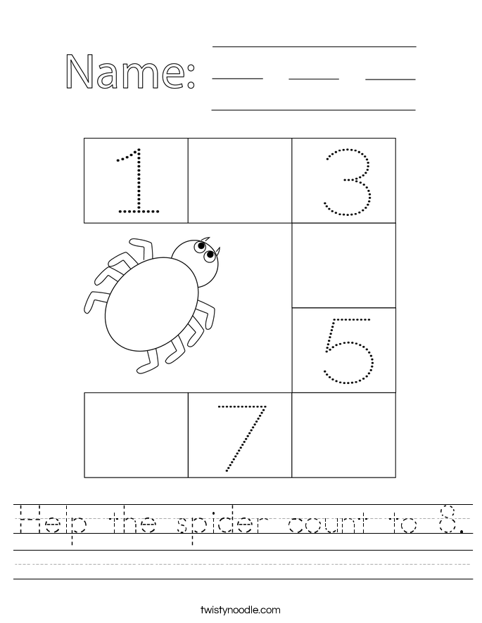 Help the spider count to 8. Worksheet