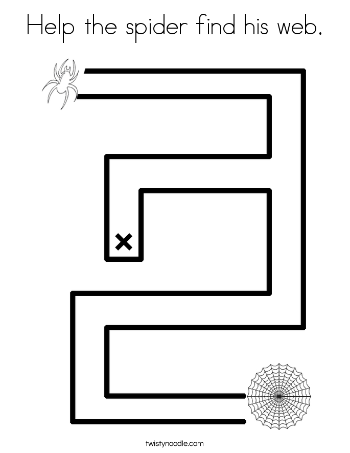 Help the spider find his web. Coloring Page