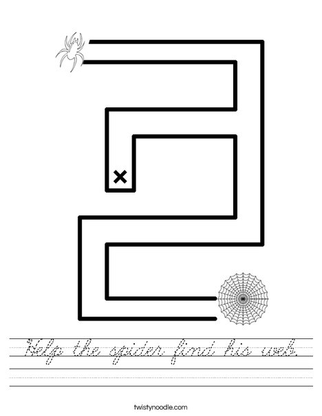 Help the spider find his web. Worksheet