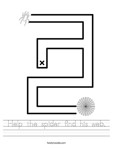 Help the spider find his web. Worksheet