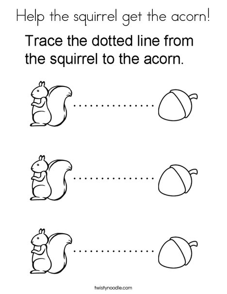 help the squirrel get the acorn coloring page twisty noodle