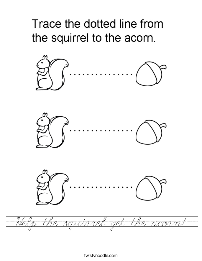 Help the squirrel get the acorn! Worksheet