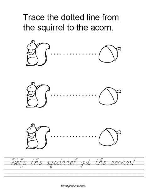 Help the squirrel get the acorn. Worksheet