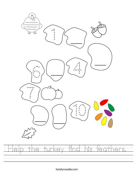 Help the turkey find his feathers. Worksheet