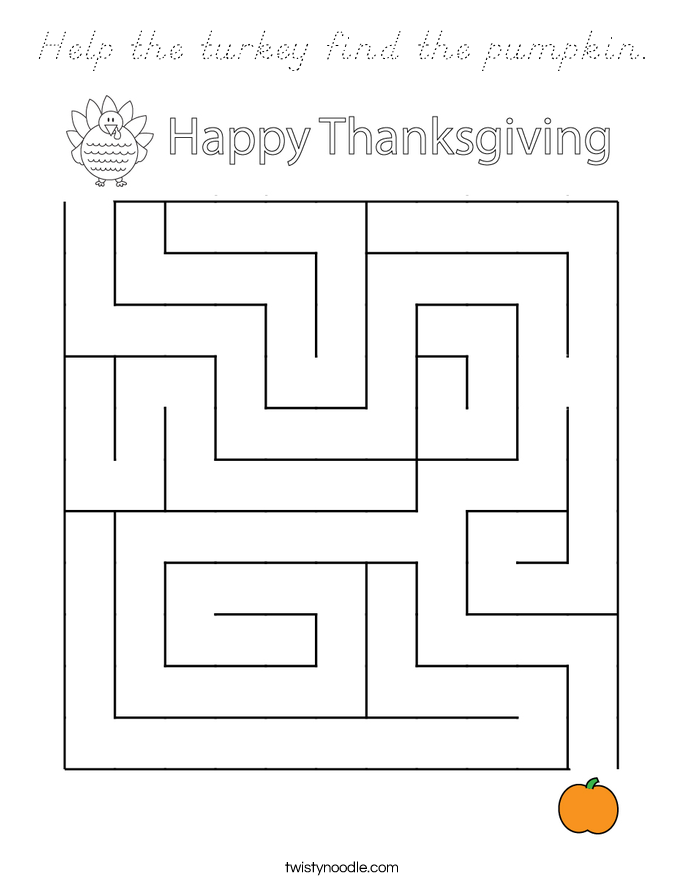Help the turkey find the pumpkin. Coloring Page