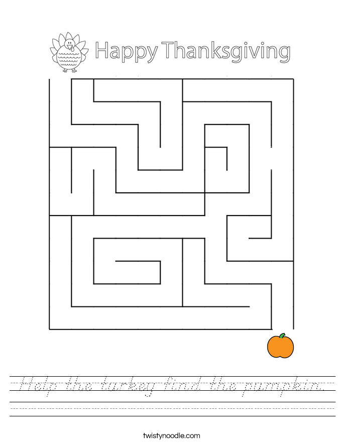 Help the turkey find the pumpkin. Worksheet