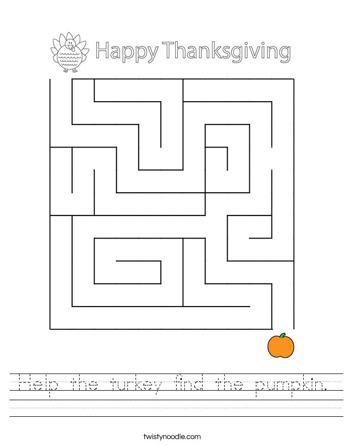 Help the turkey find the pumpkin. Worksheet