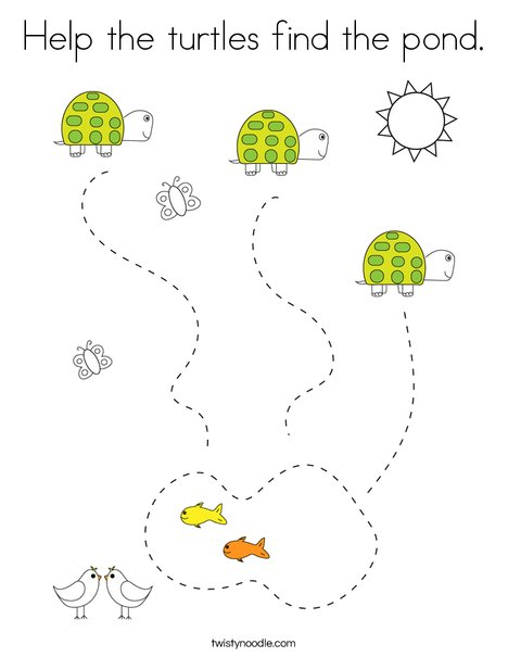 Help the turtles find the pond Coloring Page - Twisty Noodle