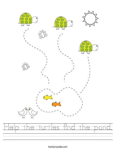 Help the turtles find the pond. Worksheet
