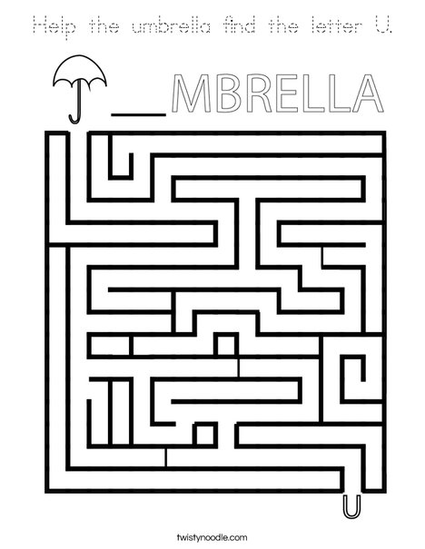 Help the umbrella find the letter U. Coloring Page