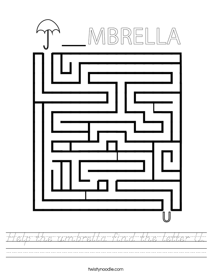 Help the umbrella find the letter U. Worksheet