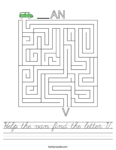 Help the van find the letter V. Worksheet