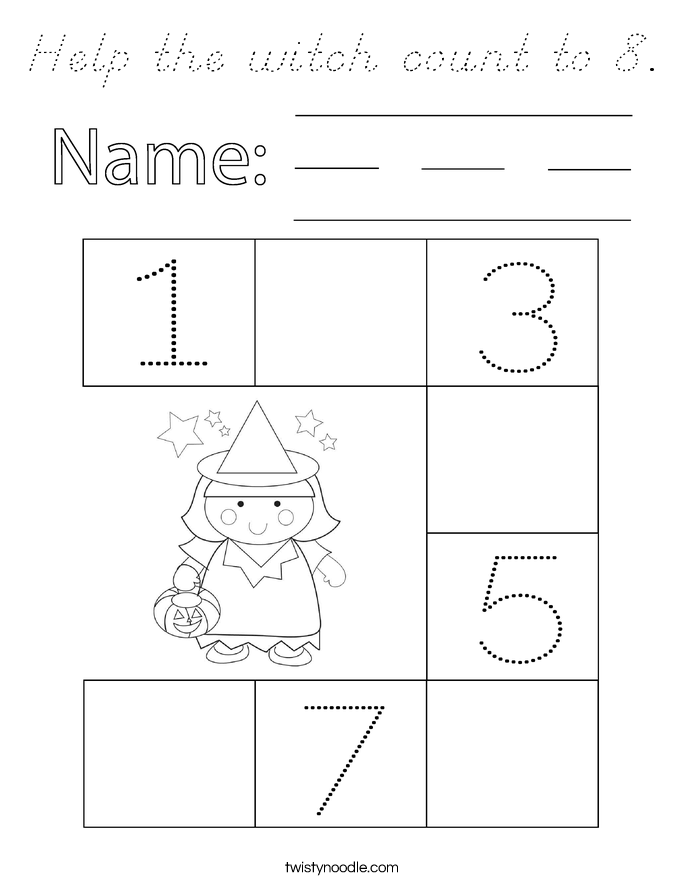 Help the witch count to 8. Coloring Page