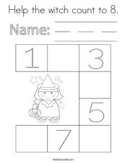 Help the witch count to 8 Coloring Page