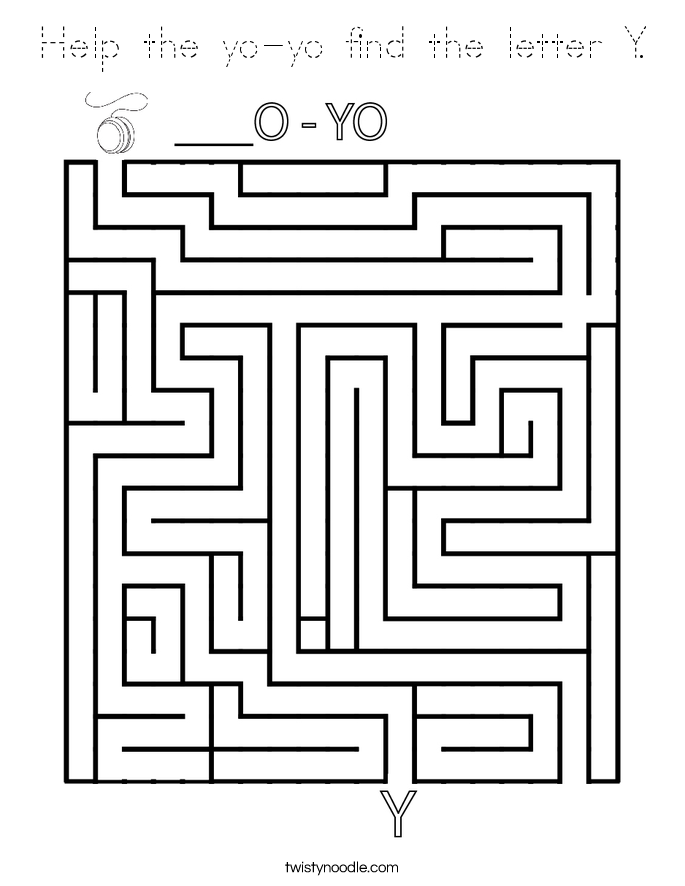 Help the yo-yo find the letter Y. Coloring Page