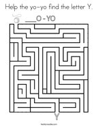 Help the yo-yo find the letter Y Coloring Page