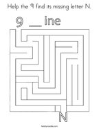 Help the 9 find its missing letter N Coloring Page