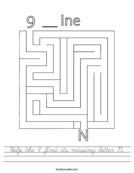 Hep the 9 find its missing letter N. Worksheet