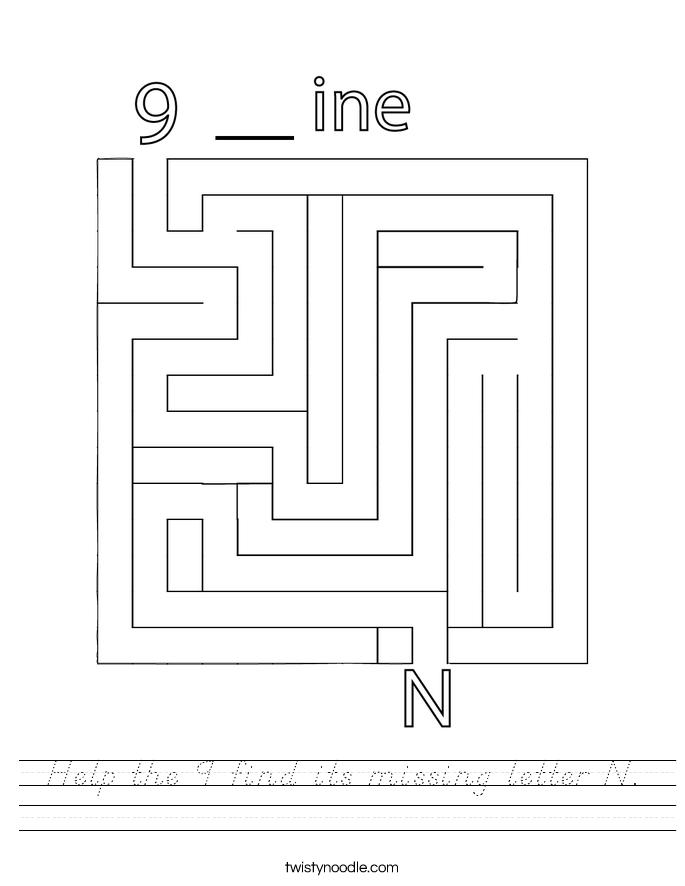 Help the 9 find its missing letter N. Worksheet