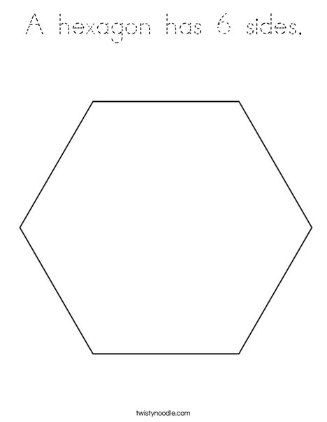 A hexagon has 6 sides Coloring Page - Tracing - Twisty Noodle