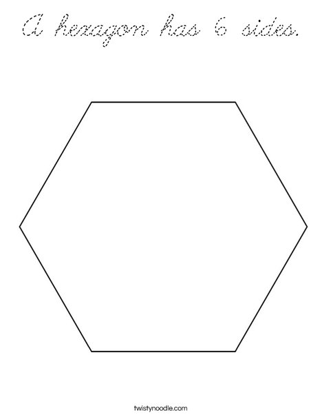 A Hexagon Has 6 Sides Coloring Page Cursive Twisty Noodle Hexagon Coloring Page