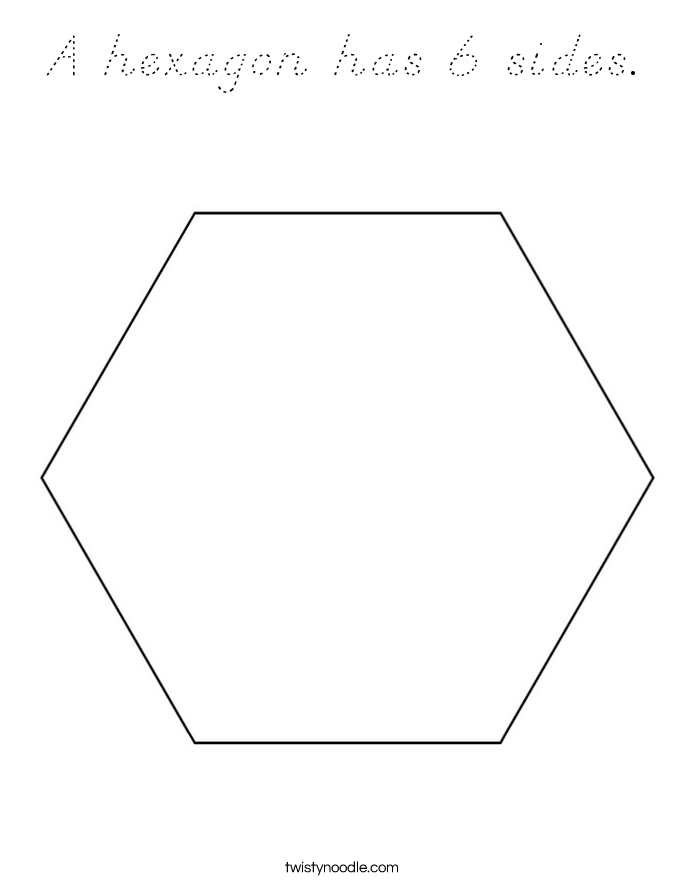 A Hexagon Has 6 Sides Coloring Page D Nealian Twisty Hexagon Coloring Page