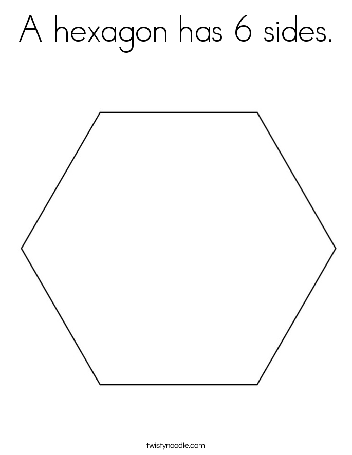A hexagon has 6 sides. Coloring Page
