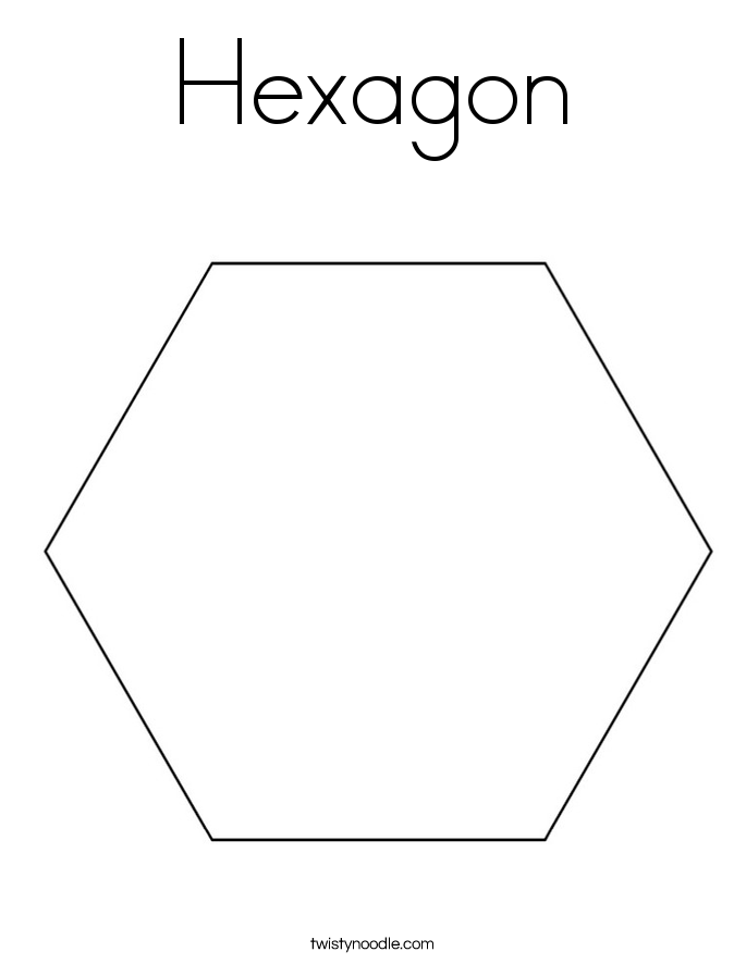 Printables Hexagon Worksheet hexagon coloring page twisty noodle page