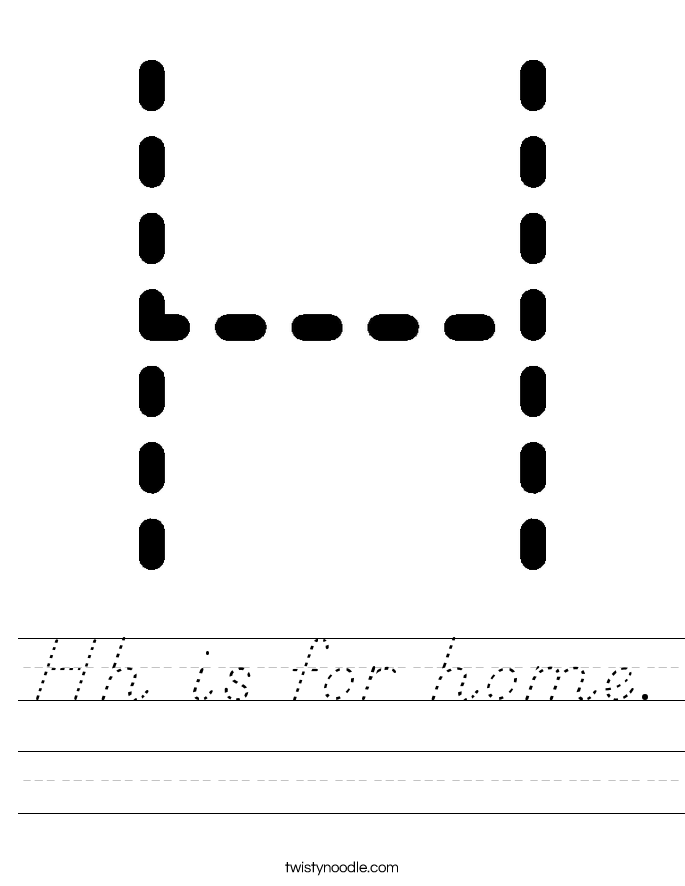 Hh is for home. Worksheet