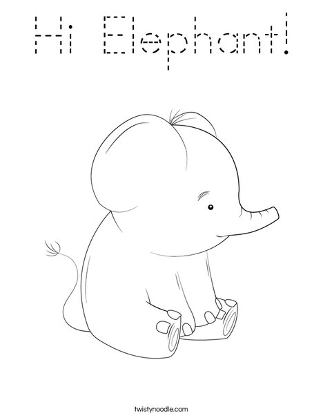 Hi Elephant! Coloring Page