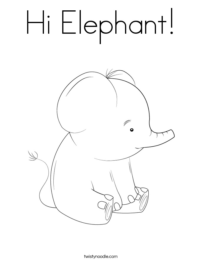 Hi Elephant! Coloring Page