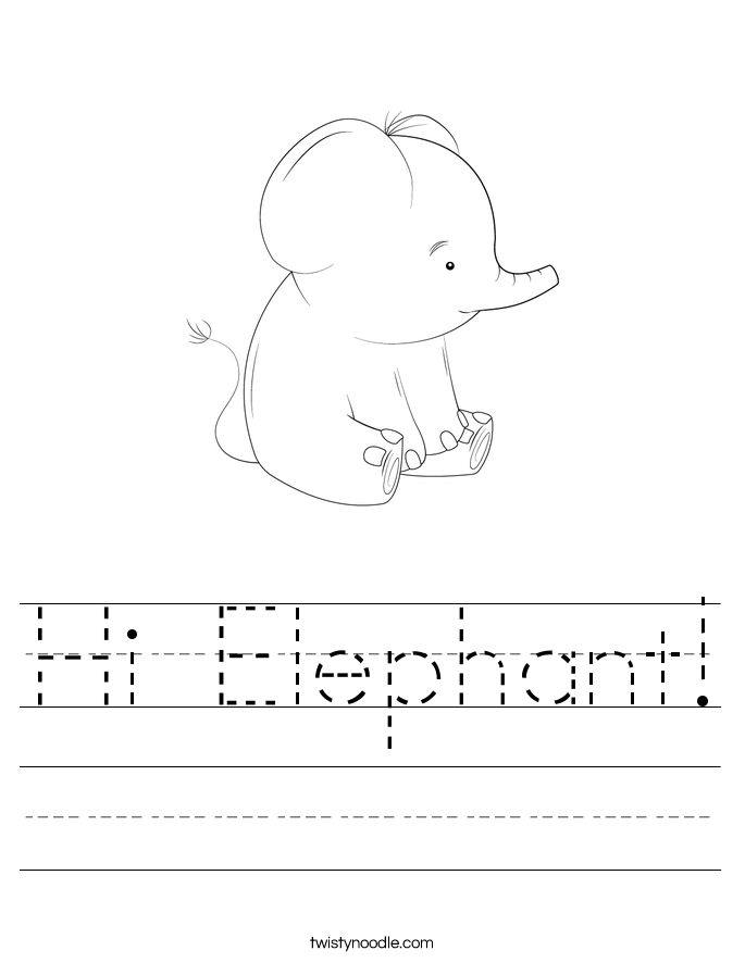 Hi Elephant! Worksheet