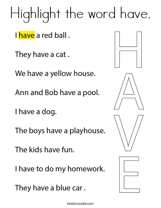Highlight the word have. Coloring Page