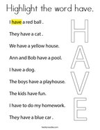 Highlight the word have Coloring Page