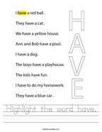 Highlight the word have Handwriting Sheet